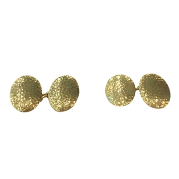 Antique Edwardian Oval Hammered Yellow Gold Cufflinks