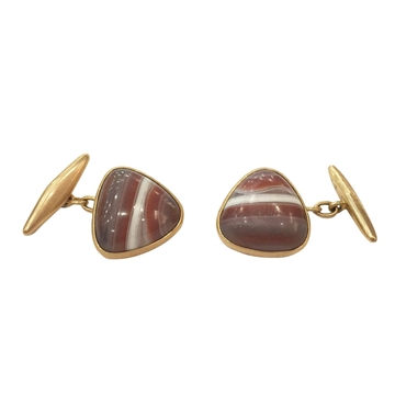 Antique Late Victorian Striped Agate and Yellow Gold Cufflinks
