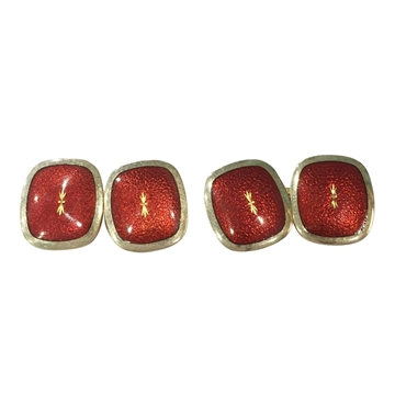 Vintage Art Deco Red Enamel and 18 Carat Yellow Gold Cufflinks