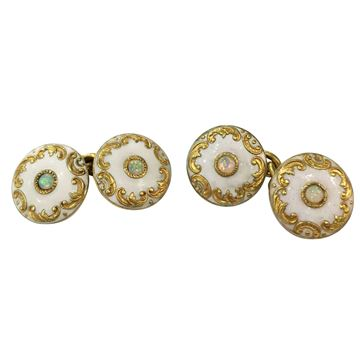 Antique circa 1860 Opal Set 18 Carat Yellow Gold Enamelled Cufflinks