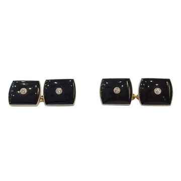 Vintage Art Deco Platinum and Diamond Black Enamel Cufflinks