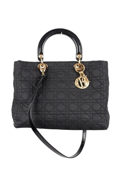 Christian Dior Cannage Quilted Canvas Lady Dior black top handle Bag