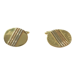 Vintage 1960s Yellow, Rose and White Gold Engraved Cufflinks