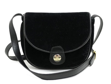 Céline Black Velvet Blazon Button Pochette Vintage Shoulder Bag
