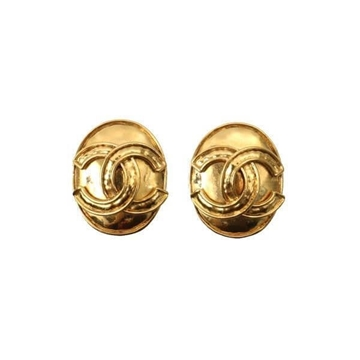 Chanel 1990s CC Gold-Tone Oval Vintage Earrings