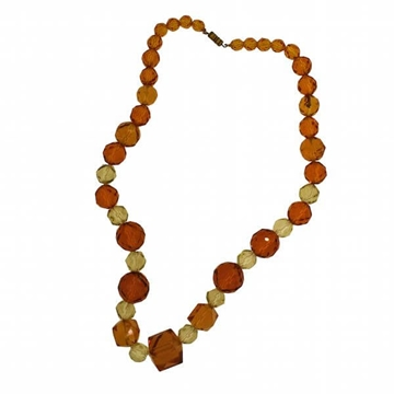 Vintage 1930s Amber & Yellow Glass Bead Vintage Necklace