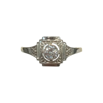 Vintage Art Deco Solitaire Square Milgrain Platinum and Yellow Gold ring