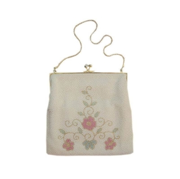 Vintage 1950s Pink Flower Beaded bag