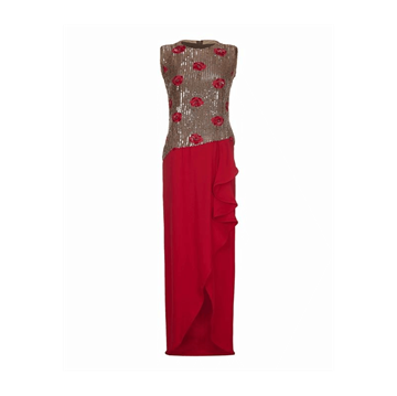 Andre Laug 1970s Sequin Red vintage dress