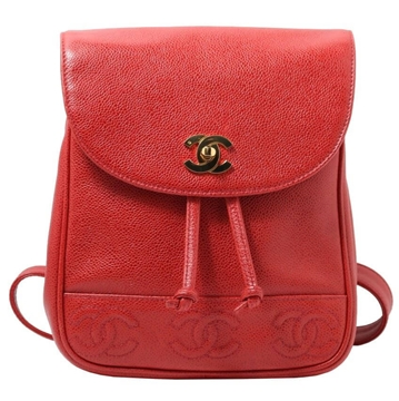 Chanel Caviar leather red vintage Rucksack