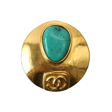Chanel 1990s Circular Convex Gold-Tone and Turquoise Colour Stone Vintage Brooch