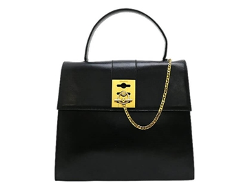 Celine Calf Leather Gancini black vintage bag