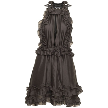 Picture of DSquared silk Ruffle black vintage dress