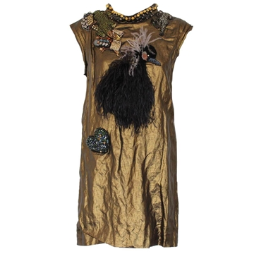 Lanvin Runway metallic & ostrich feather embellished vintage dress