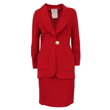 Chanel 1980s Wool Cherry Red Vintage Skirt Suit