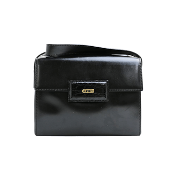 Celine Leather Logo Square Black Vintage Shoulder Bag