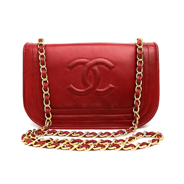 Picture of Chanel Lambskin Chain Strap Red Vintage Bag