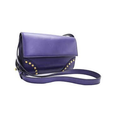 Picture of Celine Leather Logo Studded Clutch Purple Vintage Bag