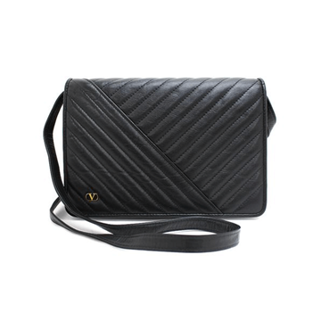 Picture of Valentino Bias Stitch Leather Clutch Black Vintage Bag