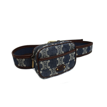Picture of Céline Blazon Pattern Denim Waist Pouch Blue Vintage Bag