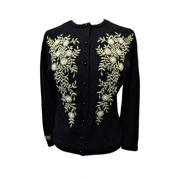 Vintage 1950s Floral Black and Gold beaded cardigan