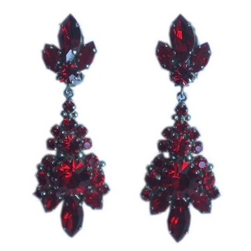 Vintage Silver Tone and Ruby Red Drop Earrings