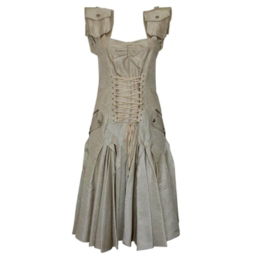 Christian Dior Corset Front Metallic Ivory Vintage Dress