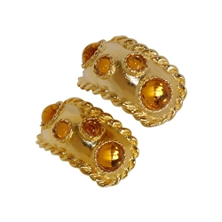 Escada 1990s Amber Stone Half-Hoop Vintage Earrings
