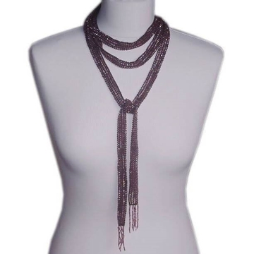 Vintage 1930s Art Deco Lariat Lilac Iridescent Glass Bead Necklace