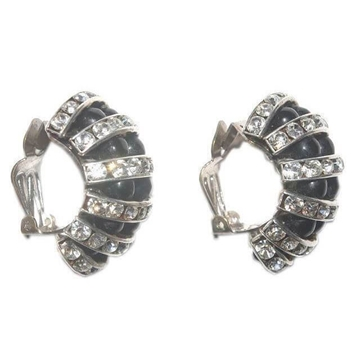 Vintage 1930s Art Deco Black Glass Bead and Channel Set Clear Diamante Half Hoop Earrings