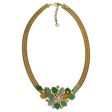 Christian Dior 1960s Floral Milanese Mesh Cut Green Glass Vintage Necklace