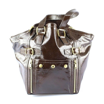 Yves Saint Laurent Patent Brown Leather Downtown top handle Bag