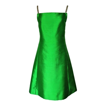 Vintage 1960s Green Raw Silk A Line Shift Dress