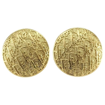 Dior Gold-Tone Trotter Disc Stud Vintage Earrings