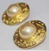 Chanel 1980s Gold Plated Faux Pearl Vintage Earrings