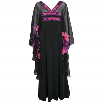 LEONARD 1970s Silk Kaftan vintage Evening Dress