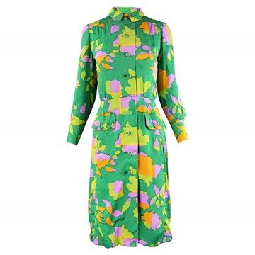 Galanos 1960s Tropical Silk green vintage Dress