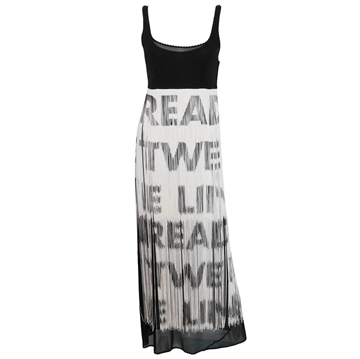 "MOSCHINO 1990s ""Read Between The Lines"" Fringe Black and White Vintage Dress"