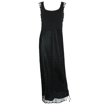 MOSCHINO 1990s Fishnet Crochet Beaded vintage Evening Dress