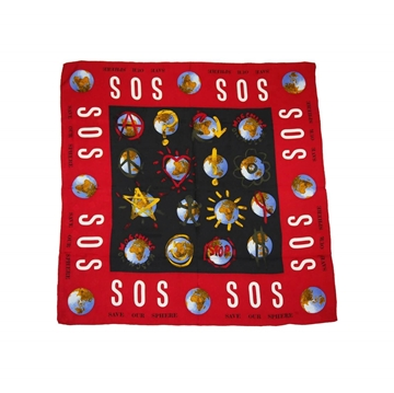 MOSCHINO 1990s SOS Save Our Sphere  Vintage Silk Scarf