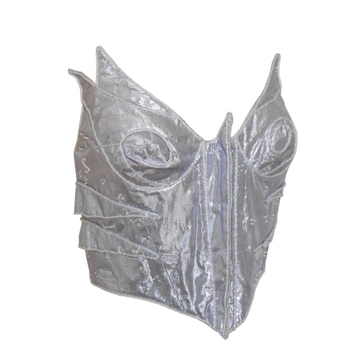 THIERRY MUGLER Couture 1980s Beaded silver vintage Bustier Top