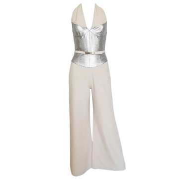 THIERRY MUGLER 1990s silver vintage Evening Jumpsuit