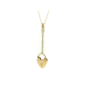 ANTIQUE VICTORIAN HEART YELLOW GOLD LOCK NECKLACE