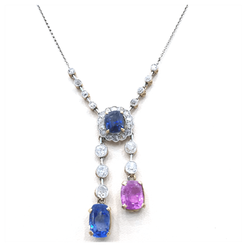 Picture of Antique Edwardian Pink & Blue Sapphire & Diamond Necklace