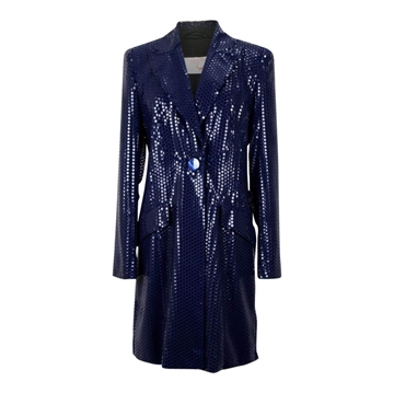 All About Eve Couture (Talbot Runhof) 1990s sequinned midnight blue vintage evening jacket
