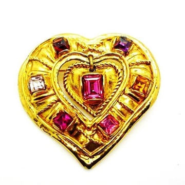 Christian Lacroix Vintage Gold Heart Brooch