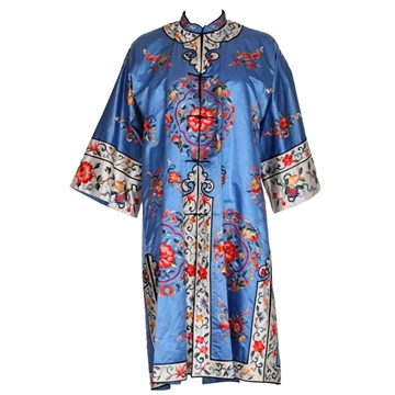 Vintage 1960s Chinese Blue Silk Coat