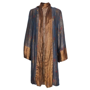 Vintage 1920s Silk Velvet & Lame blue Evening Coat