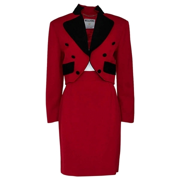 Moschino wool red & black vintage Jacket & skirt suit