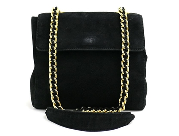 Prada Suede and Chain Black Vintage Shoulder Bag